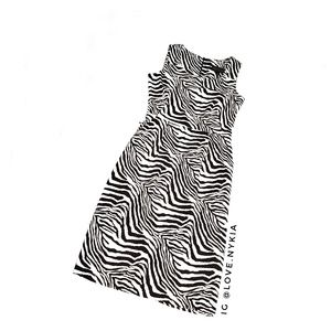Brown and Cream Zebra Fitted Pencil Dress